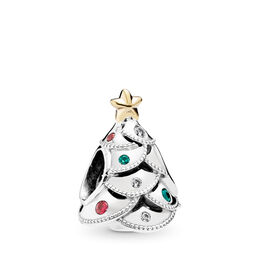 Festive Tree Charm, Two Tone, Green, Mixed stones - PANDORA - #791999CZRMX