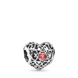 January Signature Heart  Birthstone Charm, Sterling silver, Red, Garnet - PANDORA - #791784GR
