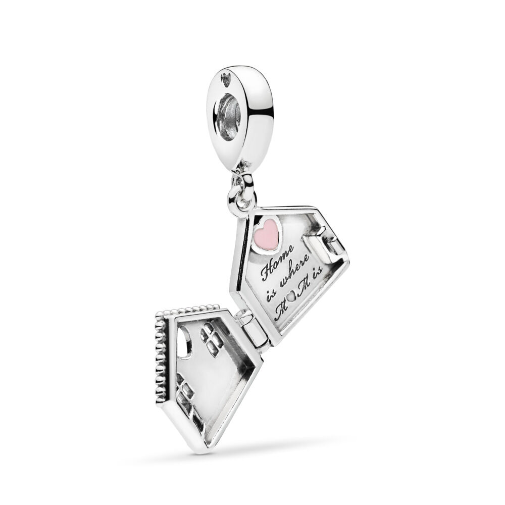Perfect Home Pendant Charm Sterling Silver Enamel Pink