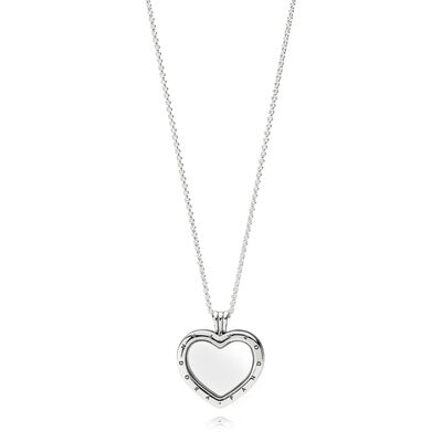 Sparkling PANDORA Floating Heart Locket - Medium, Sterling silver, Glass, Cubic Zirconia - PANDORA - #397230CZ