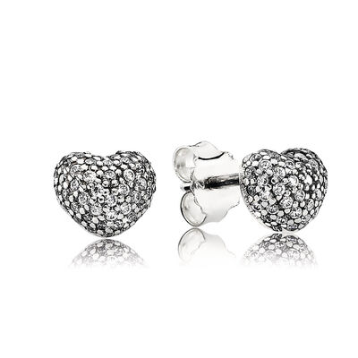 Pavé Heart Stud Earrings, Sterling silver, Cubic Zirconia - PANDORA - #290541CZ
