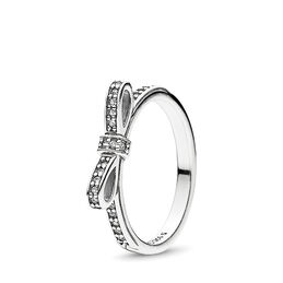 Delicate Bow Ring, Sterling silver, Cubic Zirconia - PANDORA - #190906CZ