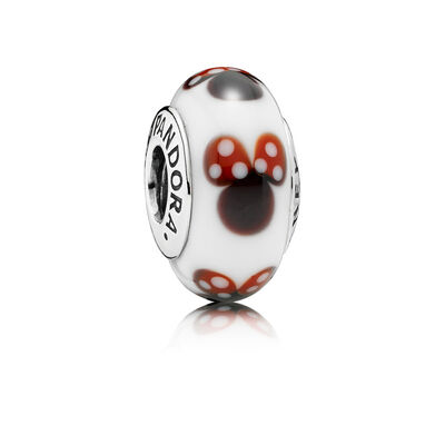 Disney, Classic Minnie Murano Charm, Sterling silver, Glass, Black - PANDORA - #791634