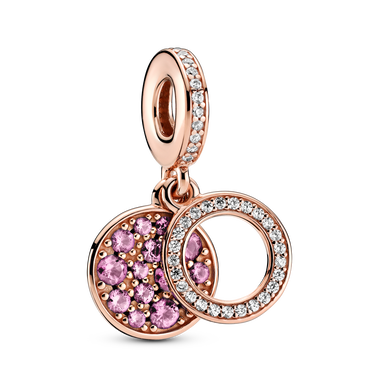 Sparkling Pink Disc Double Dangle Charm