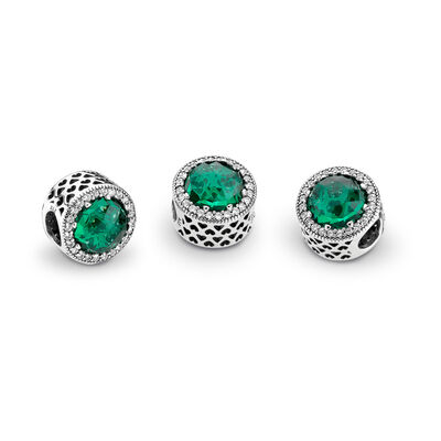 Green Radiant Hearts Charm, Sterling silver, Green, Mixed stones - PANDORA - #791725NSG