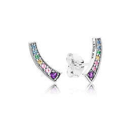 Multi-colour Arches Stud Earrings, Sterling silver, Blue, Mixed stones - PANDORA - #297077NRPMX