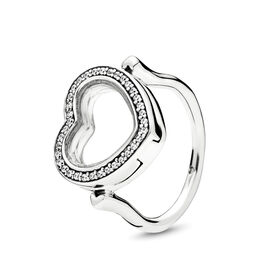 Sparkling PANDORA Floating Heart Locket Ring, Sterling silver, Glass, Cubic Zirconia - PANDORA - #197252CZ