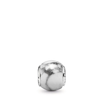 ESSENCE Positivity Charm, Sterling silver, Silicone, White, Magnesite - PANDORA - #796010MAG
