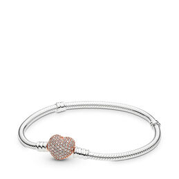 Moments Silver Bracelet, PANDORA Rose Pavé Heart, PANDORA Rose with sterling silver, Cubic Zirconia - PANDORA - #586292CZ