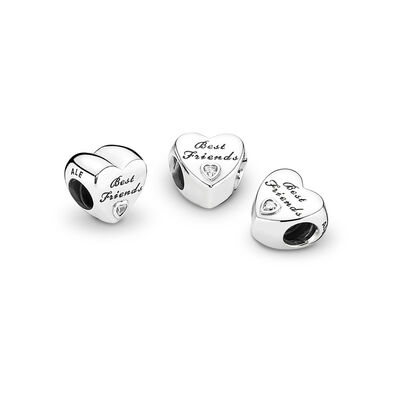 Friendship Heart Charm, Sterling silver, Cubic Zirconia - PANDORA - #791727CZ