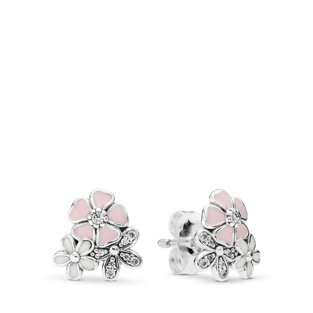 Poetic blooms stud earrings sterling silver enamel pink cubic poetic blooms stud earrings mightylinksfo
