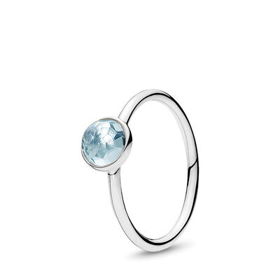 March Droplet Birthstone Ring, Sterling silver, Blue, Crystal - PANDORA - #191012NAB
