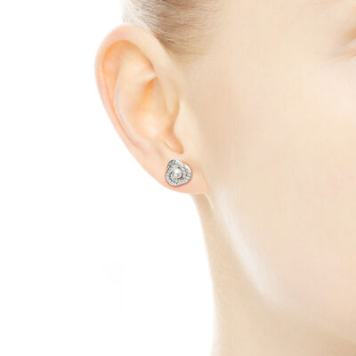 Luminous Love Knots Stud Earrings, Sterling silver, White, Mixed stones - PANDORA - #290740WCP
