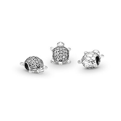 Sea Turtle Charm, Sterling silver, Cubic Zirconia - PANDORA - #791538CZ