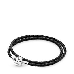 Moments Double Woven Leather Bracelet, Black, Sterling silver, Leather, Black - PANDORA - #590745CBK-D