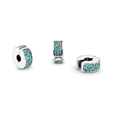 Teal Shining Elegance Spacer Clip, Sterling silver, Silicone, Turquoise, Cubic Zirconia - PANDORA - #791817MCZ