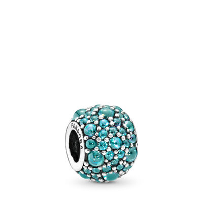 Teal Shimmering Droplets Charm, Sterling silver, Turquoise, Cubic Zirconia - PANDORA - #791755MCZ