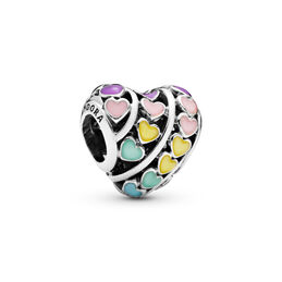 Multi-colour Hearts Charm, Sterling silver, Enamel, Blue - PANDORA - #797019ENMX