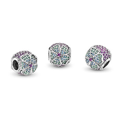 Glorious Blooms Charm, Sterling silver, Blue, Crystal - PANDORA - #797067NRPMX