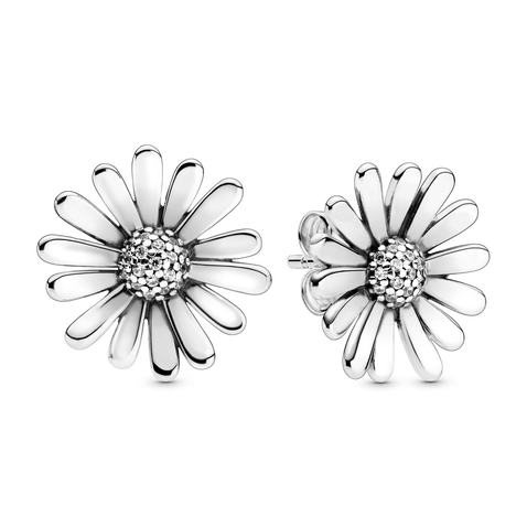 Pavé Daisy Flower Statement Stud Earrings