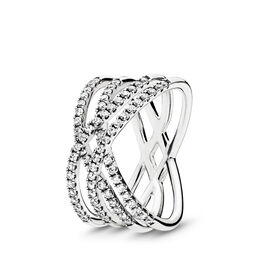 Cosmic Lines Ring, Sterling silver, Cubic Zirconia - PANDORA - #196401CZ