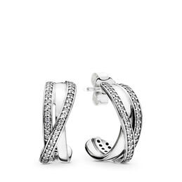 Entwined Hoop Earrings, Sterling silver, Cubic Zirconia - PANDORA - #290730CZ