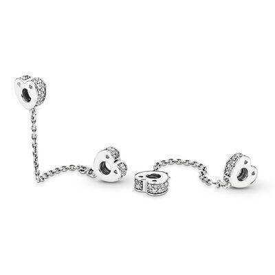 Sparkling Arcs of Love Safety Chain, Sterling silver, Cubic Zirconia - PANDORA - #797138CZ