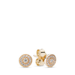 Radiant Elegance Stud Earrings, Yellow Gold 14 k, Cubic Zirconia - PANDORA - #250325CZ