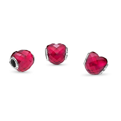 Fuchsia Shape of Love Charm, Sterling silver, Pink, Crystal - PANDORA - #796563NFR