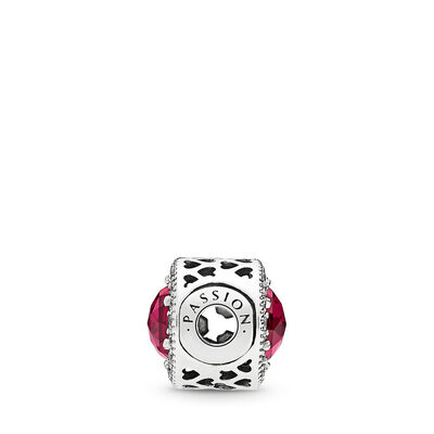 ESSENCE Passion Charm, Sterling silver, Silicone, Red, Mixed stones - PANDORA - #796441SRU