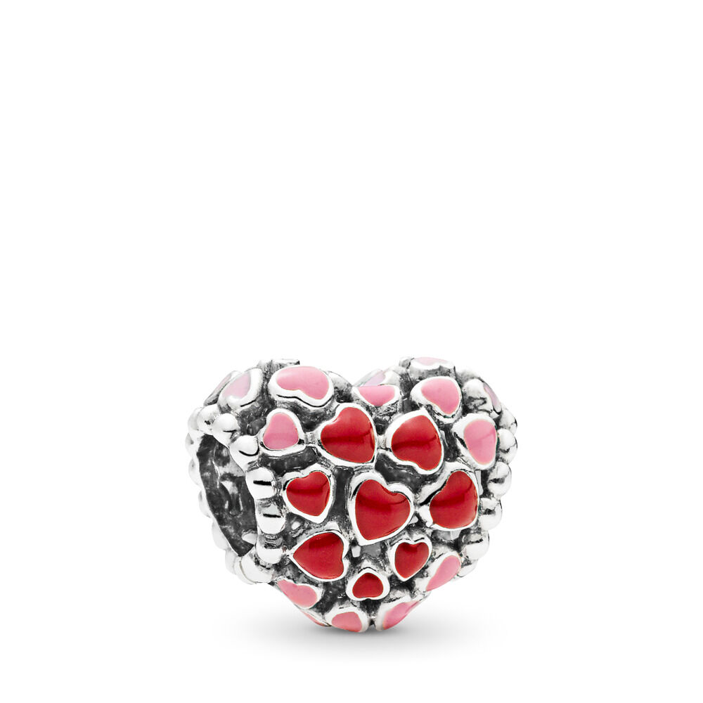 Burst Of Love Charm Sterling Silver Enamel Pink Red
