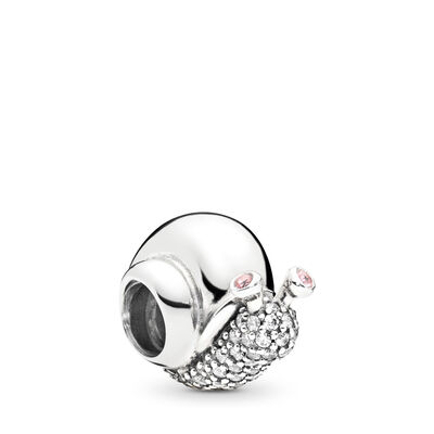Sparkling Snail Charm, Sterling silver, Pink, Mixed stones - PANDORA - #797063CZ
