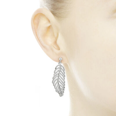 Shimmering Feathers Earrings, Sterling silver, Cubic Zirconia - PANDORA - #290584CZ