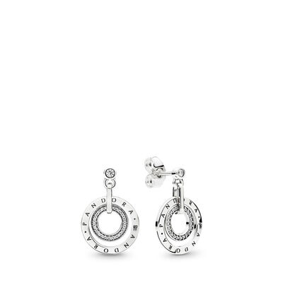 PANDORA Circles Earrings, Sterling silver, Cubic Zirconia - PANDORA - #296296CZ