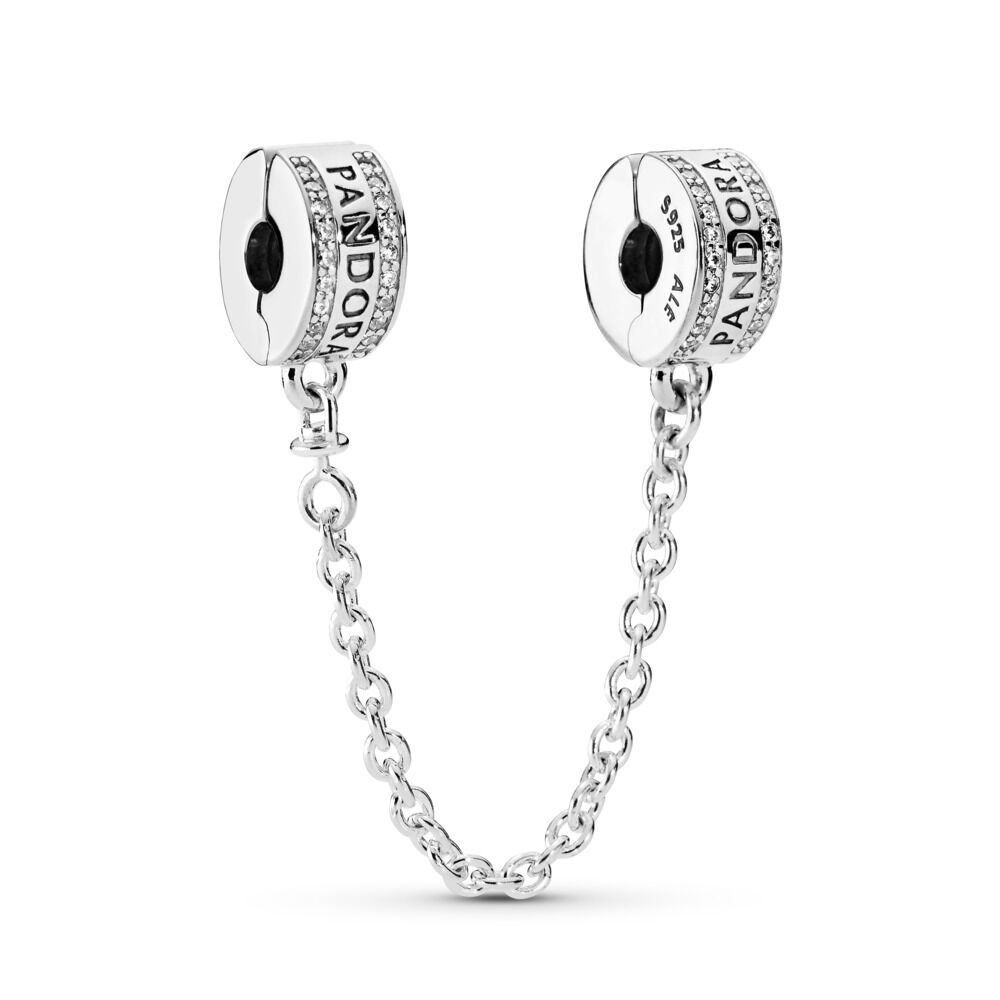 Pandora Logo Safety Chain Sterling Silver Silicone Cubic Zirco
