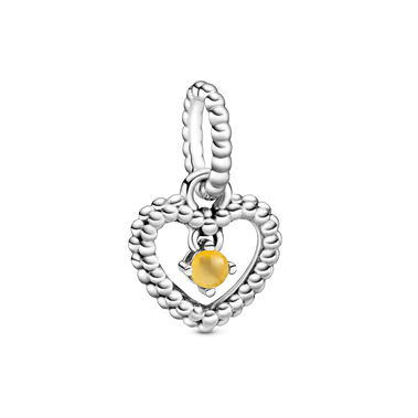 November Birthstone Heart Dangle Charm