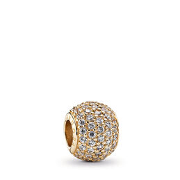 Gold Pavé Ball Charm, Yellow Gold 14 k, Cubic Zirconia - PANDORA - #750819CZ