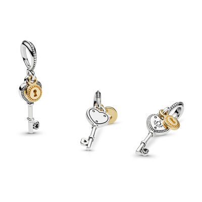 Key to My Heart Pendant Charm, Two Tone - PANDORA - #796593