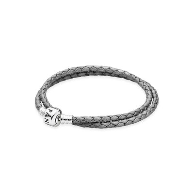 Moments Double Woven Leather Bracelet - Grey