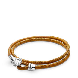 Moments Double Leather Bracelet, Golden Tan, Sterling silver, Leather, Brown, Cubic Zirconia - PANDORA - #597194CGT-D