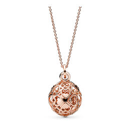 Harmonious Hearts Chime Necklace, PANDORA Rose - PANDORA - #387299