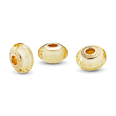 Golden Faceted Glass Murano Charm
