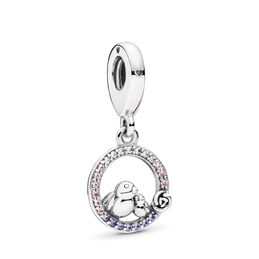 Mother & Baby Bird Pendant Charm, Sterling silver, Pink, Mixed stones - PANDORA - #797060NPRMX