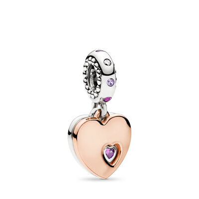 Part of My Heart Pendant Charm, PANDORA Rose with sterling silver, Pink, Mixed stones - PANDORA - #787235CFP