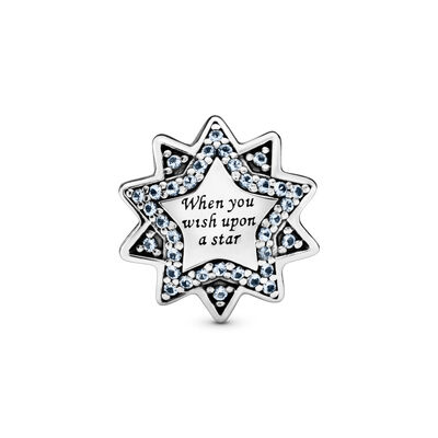 Disney, Wish Upon a Star Charm, Sterling silver, Blue, Mixed stones - PANDORA - #797490NBL