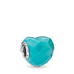 Blue Shape of Love Charm, Sterling silver, Blue, Crystal - PANDORA - #796563NSC