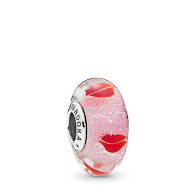 Kisses All Around Glass Murano Charm, Sterling silver, Glass, Pink - PANDORA - #796598