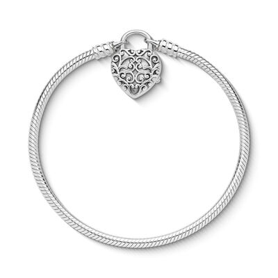 Moments Smooth Regal Heart Padlock Clasp Bracelet