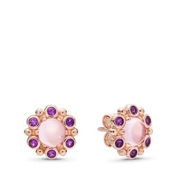 Heraldic Radiance Stud Earrings, PANDORA Rose, Pink, Crystal - PANDORA - #287728NPM