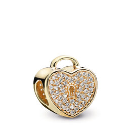 Gold Heart Lock Charm, Yellow Gold 14 k, Cubic Zirconia - PANDORA - #750833CZ
